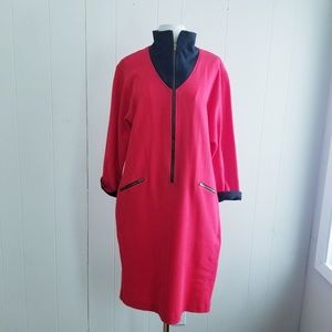 1980s Sandra Ow-Wing for N.R.1 Red, Cotton Dress